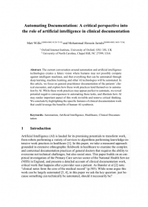 Automating Documentation: A critical perspective into the role of artificial intelligence in clinical documentation