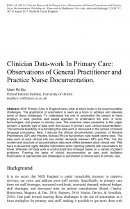 Clinician Data-work In Primary Care: Observations of General Practitioner and Practice Nurse Documentation