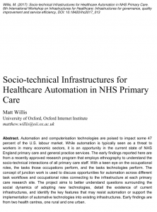 Socio-technical Infrastructures for Healthcare Automation in NHS Primary Care.