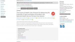 The Future of Health Care: Protocol for Measuring the Potential of Task Automation Grounded in the National Health Service Primary Care System